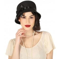 Sombrero dama de los años 20 gorro charleston negro