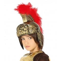 Casco soldado romano infantil dorado con pluma roja