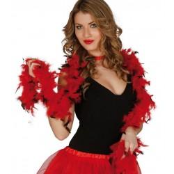 Boa roja y negra de 40 gr y 180 cm