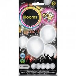 Globo blanco con luz led 5 uds Illoms Ballons