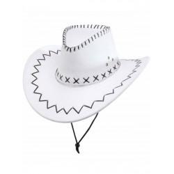 Sombrero vaquero blanco para hombre simil piel