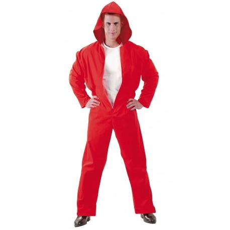 Disfraz ladron buzo rojo de casa para hombre adulto