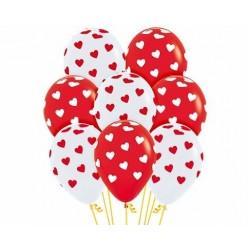 Globos corazones rojos y blancos 12 uds 30 cm