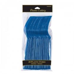 Tenedores Azul Royal de plastico 10 unidades