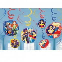 Decoracion colgante DC Super Hero Girls 12 uds