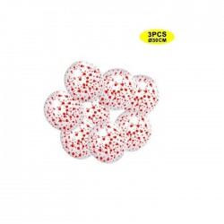 Globos transparentes con confeti Rojo 3 uds 30 cm