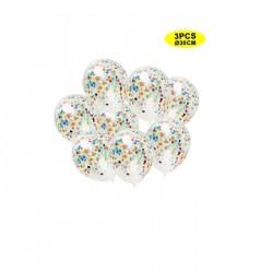 Globos transparentes con confeti Multicolor 3 uds 30 cm