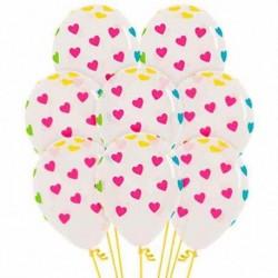Globos transparentes con corazones colores 12 uds 30 cm
