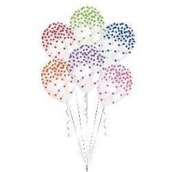 Globos transparentes confetti colores surtidos 6 uds