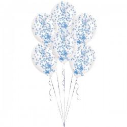 Globos transparentes confetti azul pintado 6 uds