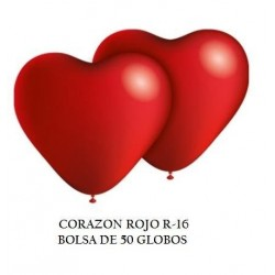 GLOBO CORAZON ROJO R16 LATEX SOLIDO
