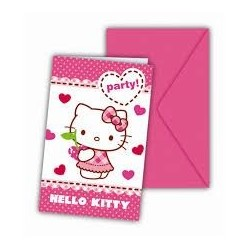 Invitaciones hello kitty hearts 6 unidades