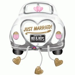 GLOBO COCHE JUST MARRIED RECIEN CASADOS BODA HELIO