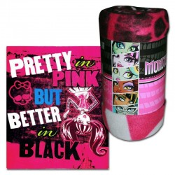 MANTA POLAR MONSTER HIGH BLACK AND PINK 120X140