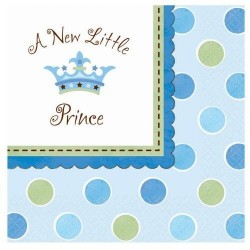 SERVILLETAS AZULES NINO BABY SHOWER 16 UN LITTLE P