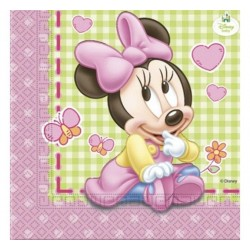 SERVILLETAS MINNIE MOUSE BEBE 20 UNID 33 X 33 CM