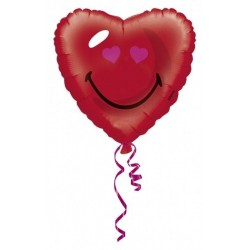 GLOBO EMOTICONO SMILEY CORAZON ROJO 18 45 CM