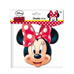 CARETAS DE MINNIE MOUSE PARA CUMPLEANOS 6 UDS