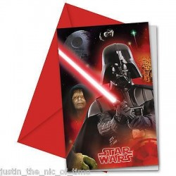 INVITACIONES STAR WARS 6 UNIDADES