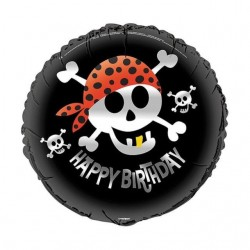 GLOBO PIRATA FOIL HAPPY BIRTHDAY 45 CM 18