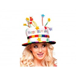 SOMBRERO DE CUMPLEANOS TARTA VELAS HAPPY BIRTHDAY COLORES