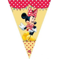 BANDERIN TRIANGULAR PARA DECORACION MINNIE ROJO